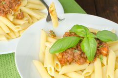 Penne with bolognese sauce Stock Images