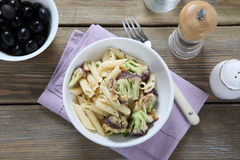 Penne with broccoli and olives Royalty Free Stock Photos