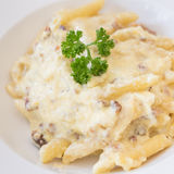 Penne carbonara closeup Royalty Free Stock Images