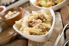 Penne with Carbonara Sauce Stock Photos