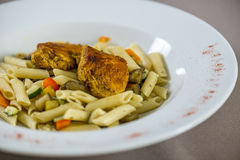 Penne with chicken Stock Photo