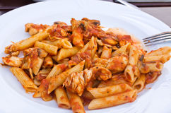 Penne - chicken and tomato sauce Royalty Free Stock Photography