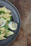 Penne with clams. Royalty Free Stock Image