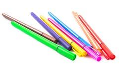 Penne colorate isolate su fondo bianco Fotografia Stock Libera da Diritti