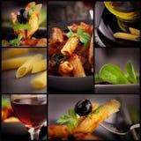 Penne con il collage delle olive Fotografie Stock