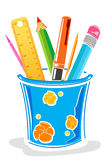 Penne e matite in casella Immagine Stock Libera da Diritti