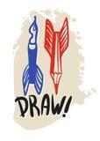 Penne e matite di volo come simboli di creatività Immagini Stock