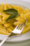 Penne on fork flavoring with sage Stock Photos
