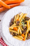 Penne with goulash Stock Photos