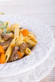 Penne with goulash Royalty Free Stock Photos