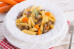 Penne with goulash Royalty Free Stock Photo
