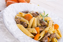 Penne with goulash Royalty Free Stock Image
