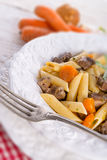 Penne with goulash Royalty Free Stock Photography