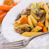 Penne with goulash Stock Photo
