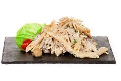 Penne Macaroni Pasta com galinha e cogumelo e Parmesão Chee Imagem de Stock Royalty Free