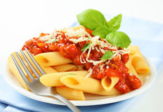 Penne with meat tomato sauce Royalty Free Stock Image