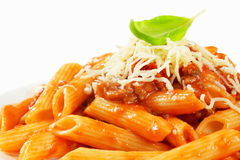 Penne with meat tomato sauce Royalty Free Stock Photos