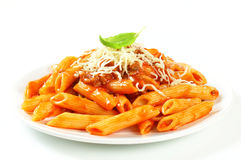 Penne with meat tomato sauce Royalty Free Stock Images