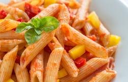 Penne med tomatsås och ny peppar Royaltyfri Fotografi