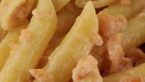 Penne met zalm en room stock video