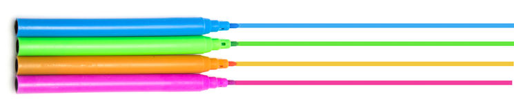 Penne multicolori variopinte del feltro delle penne di indicatori fotografia stock libera da diritti