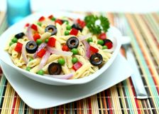 Penne Pasta. A dish of penne pasta with vegetables Stock Photography