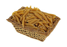 Penne Pasta in Basket Stock Image