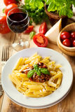 Penne pasta with bolognese sauce Royalty Free Stock Photography