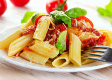 Penne pasta with a  bolognese  sauce. Royalty Free Stock Image