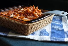 Penne Pasta Casserole. Baked cheesy chicken penne pasta, hot from the oven and ready to serve stock photos