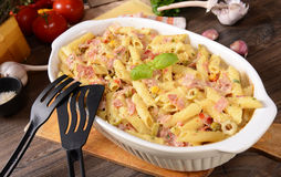 Penne pasta casserole with cheese Royalty Free Stock Image
