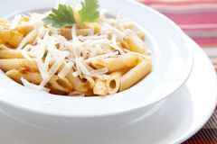 Penne Pasta with Cheese and Parsley Royalty Free Stock Photos
