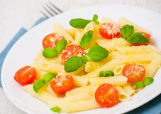 Penne pasta with cheese, tomato and basil Stock Images