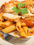 Penne Pasta with Chicken Stock Image