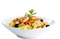 Penne Pasta with Chicken Breast and Black Olives Stock Photos