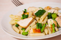 Penne pasta with chicken and broccoli Royalty Free Stock Images