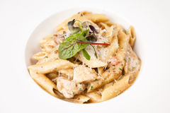 Penne pasta with chicken. And mushrooms in Boletus sauce Stock Image