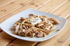 Penne pasta  with chicken Stock Photos