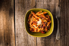 Penne Pasta with Chorizo Creamy Tomato Sauce Royalty Free Stock Photo