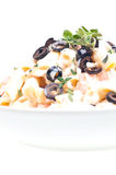 Penne pasta with  cream vegetable sauce and olives Stock Photos