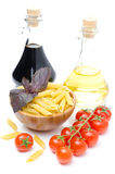 Penne pasta, fresh tomatoes, basil, olive oil and balsamic Royalty Free Stock Images