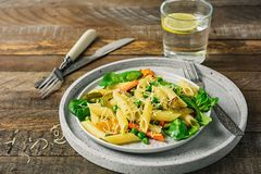 Penne pasta with grilled vegetables royalty free stock photography