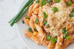 Penne pasta with healthy tuna fish, cheese and chopped scallion or spring onion leaves Royalty Free Stock Images