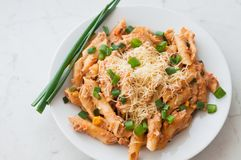 Penne pasta with healthy tuna fish, cheese and chopped scallion or spring onion leaves Stock Image