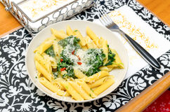 Penne pasta meal for one Royalty Free Stock Image