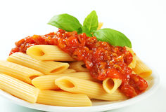 Penne with meat tomato sauce Royalty Free Stock Photography