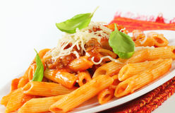 Penne with meat tomato sauce Stock Photos
