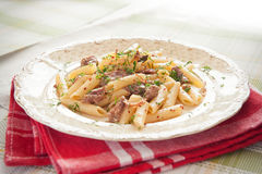 Penne Pasta with meat Royalty Free Stock Photography
