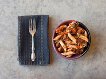Penne Pasta and Meat Sauce Stock Photography