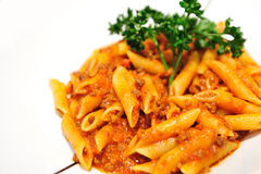 Penne Pasta with Meat Sauce Stock Images